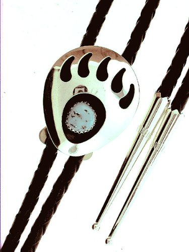 By Navajo Artist: Virginia Johnson Beautiful! Sterling-silver Large Bear Paw Turquoise Bolo-tie with rope and Silver Tips