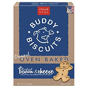 Cloud Star Buddy Biscuits Dog Treats, Bacon and Cheese Flavor, 16-Ounce Boxes (Pack of 6)