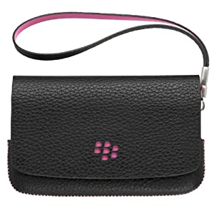 Blackberry ASY-31014-001 Original Leather Folio Pouch Case for Blackberry Torch 9800/9810 - 1 Pack - Bulk Packaging - Black/Pink