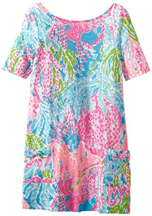 Lilly Pulitzer Big Girls' Esme Knit Dress, Turquoise Let's Cha Cha, Medium