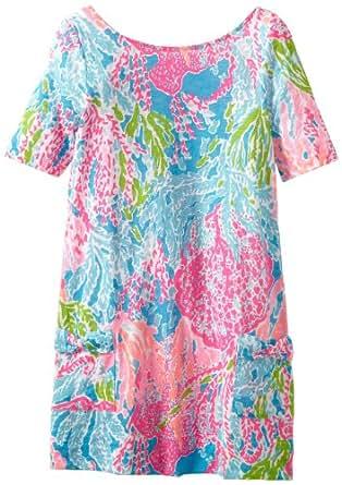 Lilly Pulitzer Big Girls' Esme Knit Dress, Turquoise Let's Cha Cha, Medium