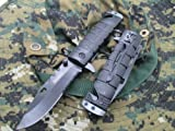 TAC-FORCE Assisted Opening Sawback Bowie Rescue Black Glass Breaker Knife NEW!