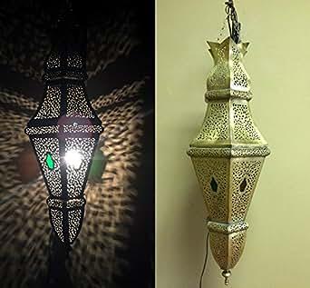 Moroccan Hanging Pendant Lantern Metal Brass Oval Lamp