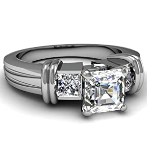 1 Ct Asscher & Princess Cut Diamond Duo Hoops Accents Engagement Ring VS1-G GIA 14K