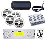 """New Outdoor Marine Use USB Radio 4 x 6.5"""" Round Speakers White + Amp + Antenna"""
