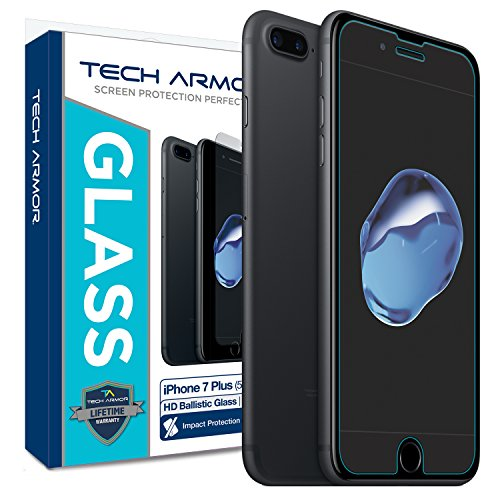iPhone 7 Plus Glass Screen Protector, Tech Armor Premium Ballistic Glass Apple iPhone 7 Plus (5.5-inch) Screen Protectors [1]