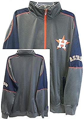 Houston Astros MLB Licensed Granite/Navy Blue Tricot Jacket Size XLT