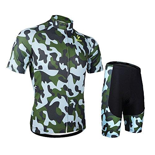 Arsuxeo Abbigliamento ciclismo,Abbigliamento Sportivo per Bicicletta,Maglia da Bicicletta + Pantaloncini corti Imbottito in Gel per Ciclismo,Abbigliamento Casual & Sportivo,Camuffamento