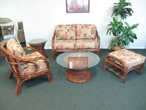 Rattan Living Room Furniture 5PC Set [Loveseat, Chair, Tables, and Ottoman]