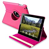 New Hot Pink 360 Degrees Rotating Leather Case Smart Cover with Stand and Sleep/Wake Function for Apple iPad 3, Built-in Magnet