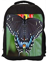 """Snoogg Black Butterfly Flying Casual Laptop Backpak Fits All 15 - 15.6"""" Inch Laptops"""