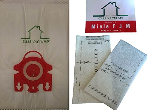 Miele FJM Bags 10 3D Bags + 2 AirClean Filters + 2 Motor Protection Filters By Casa Vacuums (Crucial Vacuum Miele compare prices)