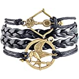 Soyagift Handmade The Hunger Games Arrow Charms Leather Braid Rope Bracelet