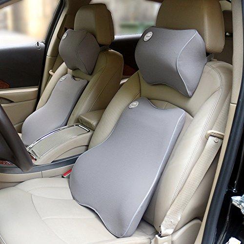 (バリュートム)Valuetom 車用 低反発 クッション セット(腰あてクッション・ネックパッド) 長座 腰痛対策 グレー