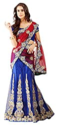 Jiya Fashion Women's Net Lehenga Choli (Blue and Red)