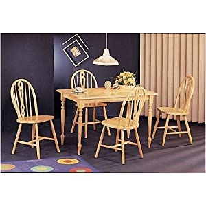 Butcher Block Kitchen Table And Chairs : Amazon.com: Wood Butcher Block Dining Table Set & 4 Keyhole Chairs: Home & Kitchen