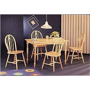 amazon com wood butcher block dining table set 4