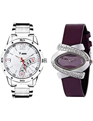 Xeno Chronograph Day Date Type Diamond Studded Analog Silver Dial Men's & Purple Dial Women's Couple Watch - ZDFT0009...