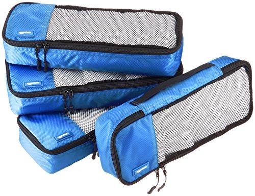 AmazonBasics Lot de 4sacoches de rangement pour bagage TailleSlim, Bleu