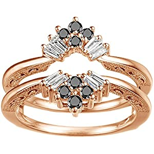 Black Diamond Vintage Fan Style Ring Guard with Millgrained Edges and Filigree Design Set In Rose Gold Plated Sterling Silver (0.43 Ct. Twt.)