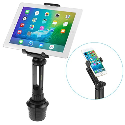 iKross 2-in-1 Tablet and Cellphone Adjustable Swing Extended Cup Mount Holder Car Kit For Apple iPad Air, Samsung tablet, iPhone, HTC, LG, Nokia Smartphone and more