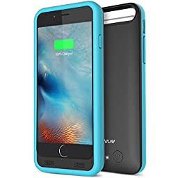 iPhone 6S Battery Case - iPhone 6 Battery Case, Trianium Atomic S Portable Charger for Apple iPhone 6 6S Battery Charging Case (4.7 Inches)[Black/Blue]- 3100mAh External Protective Juice Power Bank Charger[MFI Certified]