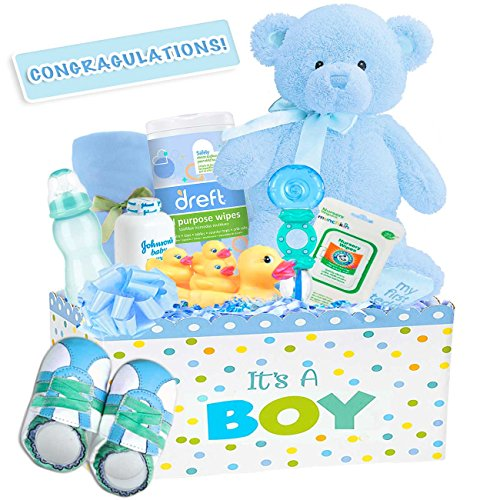 """It's a Boy"" Deluxe Baby Boy Gift Basket, Color: Blue"
