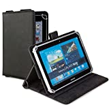 Cooper CasesTM Magic Carry Samsung Galaxy Tab 4 10.1 LTE (T535) Tablet Folio Case w/ Shoulder Strap in Black (Premium Pleather Cover, Built-in Viewing Stand, Elastic Hand-Strap and Stylus Holder)