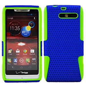 DragonCell [Blue + Green] 2 in 1 Hybrid Mesh Hard PC Plastic and Silicone Skin Gel Phone Case Cover Faceplate for Motorola DROID RAZR M Mini XT907 XT 907 (Verizon) - Screen Protector Film Included