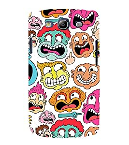 MULTIPLE CARTOONISH FACES 3D Hard Polycarbonate Designer Back Case Cover for Samsung Galaxy S3 :: Samsung Galaxy S3 i9300