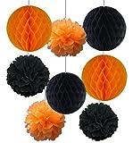 SUNBEAUTY「8個セット」すぐ使える 黒+オレンジ ハロウィン装飾 ハニカムボール ポンポンフラワー インテリア パーティーの飾り付け