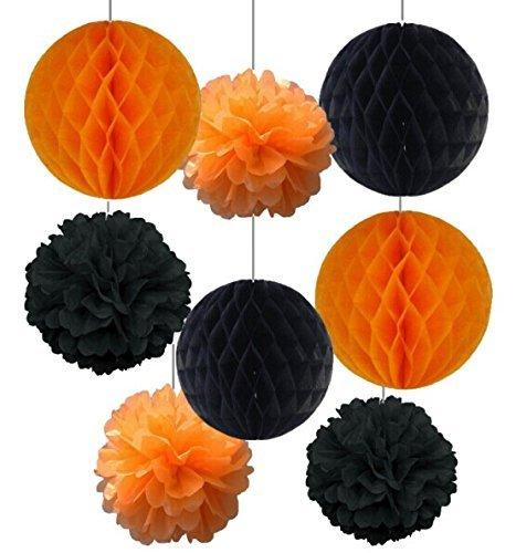 SUNBEAUTY 「8個セット」すぐ使える 黒+オレンジ ハロウィン装飾 ハニカムボール ポンポンフラワー インテリア パーティーの飾り付け