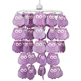 Modern Lilac Owl Droplet Ceiling Pendant Light Shade