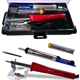 Whatnot Widgets 5-in-1 Electronic Soldering Kit with FREE Tool Carry Case - Includes Corded 40 Watt Soldering Iron, Tip, Desoldering Pump, Solder, Stand - Electronics Repair, Hobby and Crafts - CE and RoHS Certified