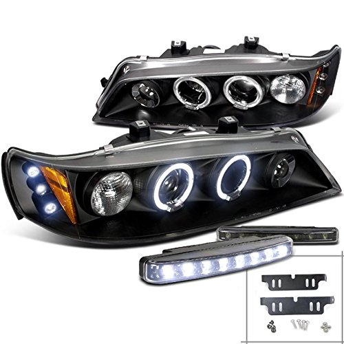 Honda Accord LED Halo Projector Head Lights Black+8-LED Bumper DRL (96 Honda Accord Ex Tail Lights compare prices)