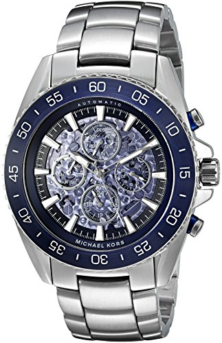 Michael Kors Men's 'Jet Master' Japanese Automatic Stainless Steel Casual Watch, Color:Silver-Toned (Model: MK9024)