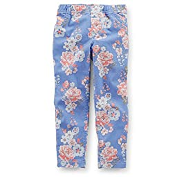Carter\'s Baby Girl\'s Floral Stretch Twill Jeggings (3 Months, Periwinkle)
