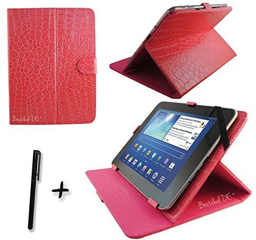 "Luxus Rosa Krokodil PU Lederner Tasche Case Hülle für Point of View ProTab 3XXL & ProTab 25XXL 10.1"" Zoll Tablet PC + Stylus"