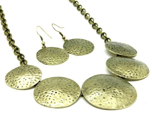 NECKLACE AND EARRING SET METAL 1 1 GOLD Fashion Jewelry Costume Jewelry fashion accessory Beautiful Charms