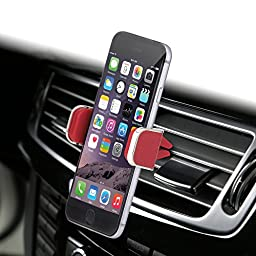 Dash Crab MONO - Genuine Leather Car Mount, Luxurious Premium Air Vent Cell Phone Car Holder for iPhone 7 Plus 6 6s Plus Samsung Galaxy S7 S6 Edge Note 5, Universal Grip - Retail Pack (Red)