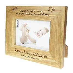 Ten Little Fingers Ten Tiny Toes New Baby Personalised Photo Frame, Engraved new baby photo frame