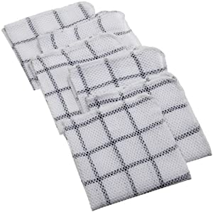 DII 100% Cotton, Machine Washable, Everyday Kitchen Basic Scrubber Dish Cloths Set of 6, Black and White Plaid