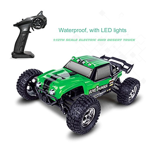 Tecesy 25MPH 2.4GHz Off-Road RC Truck Waterproof 4x4, Mud Truck Remote Control 1/12 Scale with LED Car Lamps - Green (Rc Trucks 4x4 Waterproof compare prices)