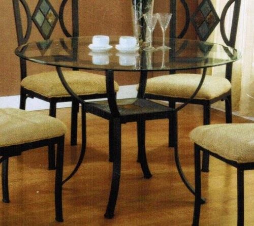 Cheap Dining Table with Glass Top and Slate Inlaid in Black Finish (VF_AM1942)