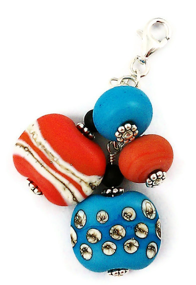 Southwestern Turquoise and Coral Lampwork Pendant