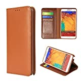 Moon Monkey Luxury Genuine Leather Business Series Stand Function Wallet Design Protective Case for Samsung Galaxy Note 3 (MM419) (Brown)