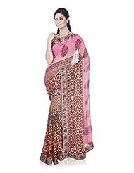 Aadarshini Women's Chiffon Saree (4084, Pink And Orange)