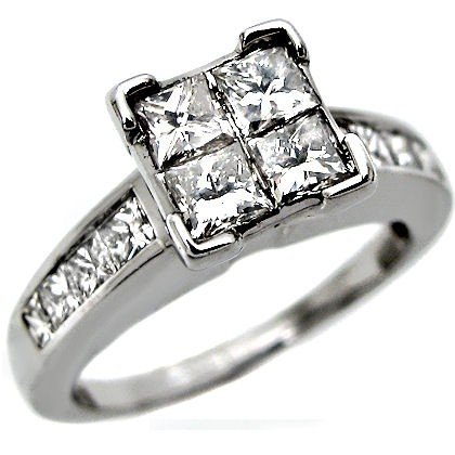 1 30ct Princess Cut Quad Diamond Ring 14k White Gold