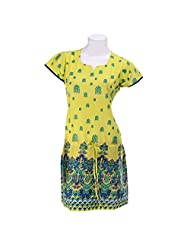 Olivia Women's Printed Yellow Kurta With Dori - Lemon Yellow