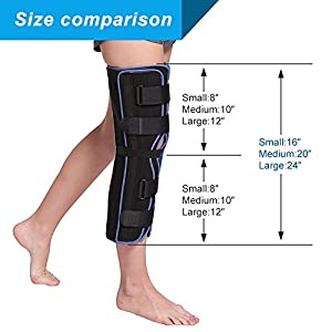 Velpeau Tri-Panel Knee Immobilizer Brace - 16 Long - Straight Leg Immobilizer - Knee Splint - Comfort Rigid Support for Post-Surgery Recovery (Small) (Color: Blue, Tamaño: Small-16''Length)